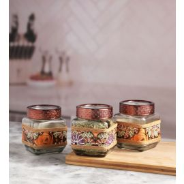 Decorative 3 Pc Jar Square Small