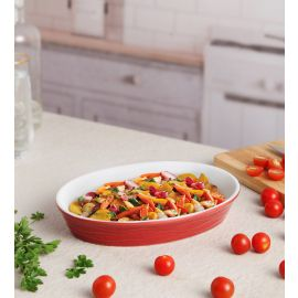 Red Ceramix Oval Dish 700 Ml